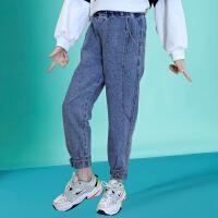 木木屋女童裤子春秋外穿洋气2021年新款女中大童束脚长裤春季儿童牛仔裤