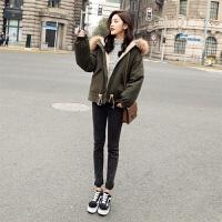 大毛领小棉袄女短款冬装时尚韩版加厚夹棉工装外套潮 X