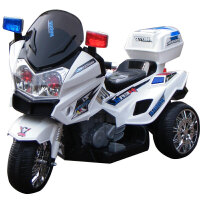 新款儿童电动车双驱大号儿童电动警车可坐可骑充电摩托车小孩玩具童车儿童电动三轮车 顶配白色+双驱 +快慢档+电显+充气轮