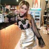 2018春季新款性感夜店�L吊��+花朵透�上衣+pu包臀短裙三件套女潮