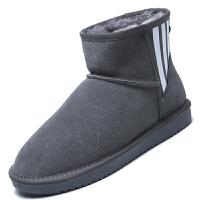 雪地靴男冬季情侣加绒保暖加厚棉鞋短筒防水防滑皮毛一体面包棉靴