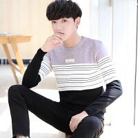 韩版潮流条纹针织衫秋季男士毛衣青年圆领薄款套头打底衫
