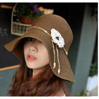 沙滩草帽夏天出游优雅花朵防晒女帽子大檐帽遮阳帽