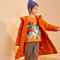 【冬清仓价:295】巴拉巴拉旗下巴帝巴帝19年冬中大童时尚休闲儿童羽绒服男童连帽中长款