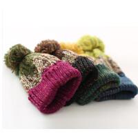 新款手工冬季毛线帽韩国混色冬天帽子韩版针女士秋冬甜美织