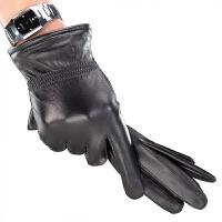 手套男士季保暖羊皮手套加绒加厚骑行薄款大码女士皮手套