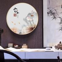 客厅装饰画家和万事兴新中式禅意挂画实木框圆形餐厅玄关壁画荷花