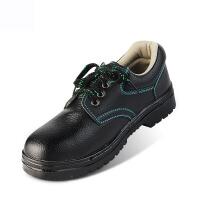 谋福 防砸鞋包钢头安全鞋防滑耐磨透气工作鞋高帮劳保鞋牛皮鞋黑色