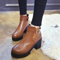 20167冬季新品欧美性感圆头高跟马丁靴短靴及裸靴粗跟防水台女靴潮23mh