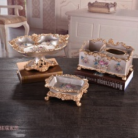 欧式果盘三件套装家居客厅茶几装饰品树脂水果盘纸抽盒烟灰缸摆件创意家居 玫瑰金三件套