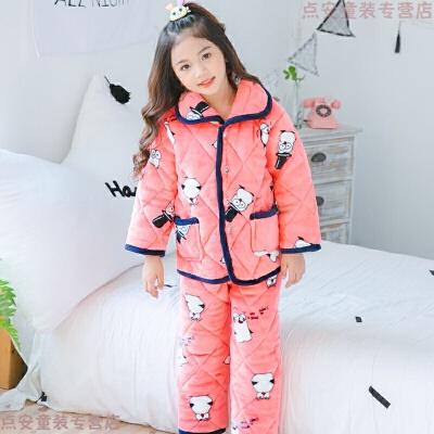 秋冬季儿童法兰绒睡衣男童女童三层加厚款夹棉小孩宝宝珊瑚绒套装