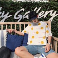 夏季圆领宽松男生短袖韩版潮流男T恤学生情侣半袖衣服