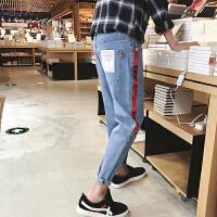 男士牛仔裤春季新款韩版潮流帅气个性九分裤子修身小脚哈伦裤