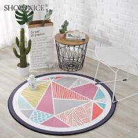简约北欧几何图案圆形地毯 卧室客厅茶几房间吊篮园毯电脑椅地垫
