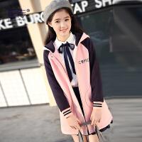 少女冬装中学生卫衣外套女韩版学院风初中生中长款棒球服加厚高中