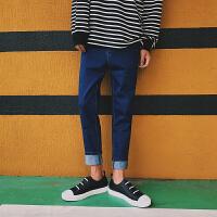 新款2018秋冬男士水洗复古牛仔长裤子纯色弹力休闲简约小脚裤哈伦