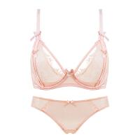 透明性感蕾丝款内衣 深大胸显小调整型聚拢女士文胸套装 粉色