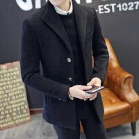 新款男士风衣2018秋冬季韩版修身型短款披风外套帅气毛呢子大衣男