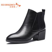 红蜻蜓2018新款简约中跟女靴马丁靴粗跟短筒方头原宿短靴百搭潮靴女