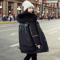 黑色羽绒服女中长款2018潮流新款韩版冬季超大毛领白鸭绒刺绣服潮