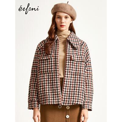 2件4折 伊芙丽2018冬装新款韩版时尚格子短款毛呢外套女千鸟格羊毛大衣