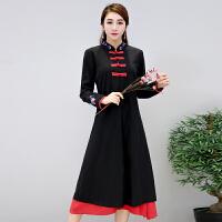 棉麻连衣裙秋冬新款民族风女装中长款长袖绣花假两件复古裙子