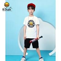 【3折价:98.7】B.duck小黄鸭童装男童夏装短袖儿童套装2020新款中大童两件套BF2181912