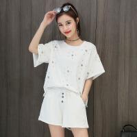 休闲套装女夏2018新款韩版宽松短袖短裤两件套时尚棉跑步运动服 白色 X