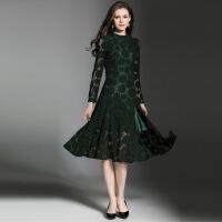 欧洲站女装秋装新款性感镂空蕾丝开叉气质修身中长款连衣裙