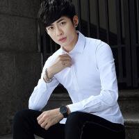 秋季男士长袖衬衫韩版纯色衬衣时尚青年休闲修身衬衣职业正装