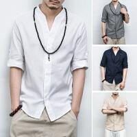 中国风男装夏季棉麻短袖衬衫男薄大码宽松七分袖衬衣中式亚麻汉服