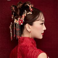 新款秀禾服手工绢纱红色花朵发饰发夹古装配中式秀禾流苏新娘头饰