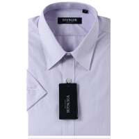 YOUNGOR雅戈尔 粉紫色细条纹 涤棉VP免烫短袖衬衫SXP11259-33