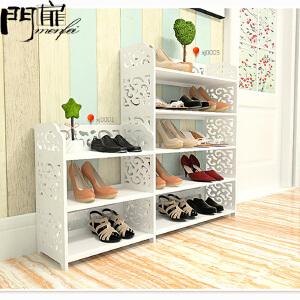 门扉 简易鞋架 创意鞋柜置物架 组合欧式创意雕花组装简易置物架