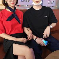 2018韩版男士短袖T恤情侣装夏装新款潮流字母刺绣宽松百搭体恤衫