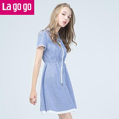 【两件5折后价179.5】Lagogo2017夏季新款直筒条纹收腰短袖纯棉连衣裙女中长款小清新