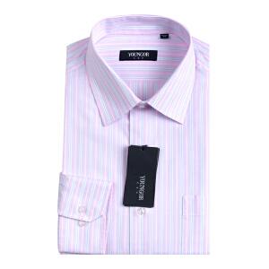 Youngor/雅戈尔秋季男士商务正装粉色条纹免烫长袖衬衫NP1238-43