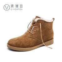 青婉田2017雪地靴新款羊皮毛一体加绒真皮平底短靴冬季棉鞋女保暖