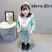 冬季女童冬装套装2018新款时髦韩版宝宝中小童女孩冬季卫衣两件套5岁6秋冬新款