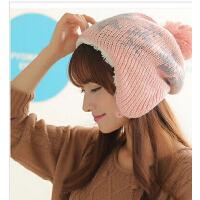 毛线帽雪花款护耳帽女雷锋帽加厚针织帽加绒休闲