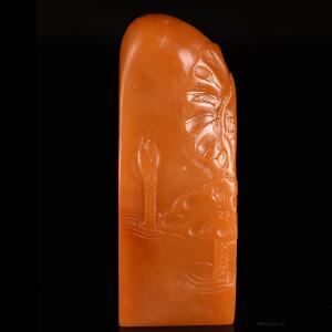 《荷塘月色方章》天然结晶寿山石全手工博意精雕