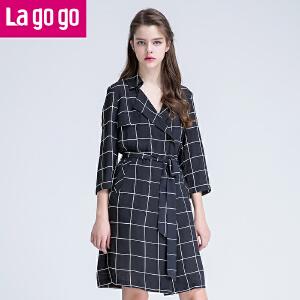 Lagogo2017夏季新款格子薄风衣女中长款直筒翻领七分袖春款外套