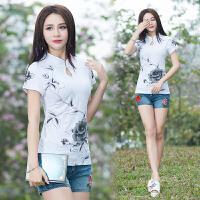 中国风女装上衣夏季新款民族风复古印花短袖T恤女纯棉打底衫