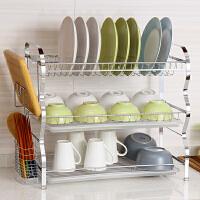 欧润哲 22寸电镀厨房三层碗碟架沥水架 晾碗架放碗架 碗盘筷子收纳架