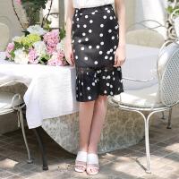 夏装新品 收腰包臀半身裙百褶蕾丝拼接雪纺裙D724178Q1