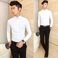 新款黑衬衫男士长袖春秋装韩版修身型2018白衬衣修身款学生潮男装