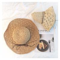 可折叠手工大沿草帽女夏天小清新海边沙滩夏遮阳帽子