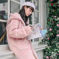 2018新款秋冬季可爱毛毛外套女兔耳朵毛绒皮草大衣中长款韩版卫衣