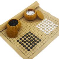 围棋套装 送皮革棋盘 儿童教学19路大号围棋 五子棋 塑编罐便携版本