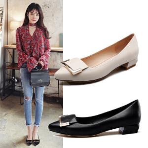 【17新品】阿么潮流大方扣尖头单鞋子低跟方跟韩版套脚浅口女鞋